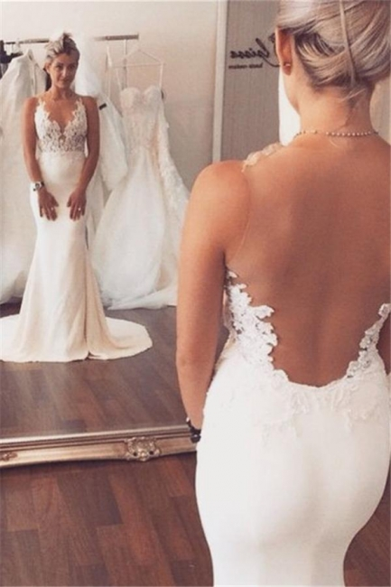 Sleeveless Lace Beach Wedding Dress Online | Summer Mermaid Bridal Gowns