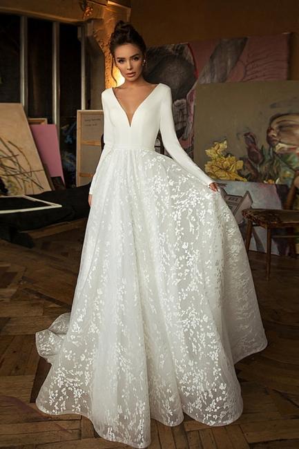 Boho Long Sleeve Appliques Wedding Dress On Sale | Elegant V-neck White Lace Bridal Gowns