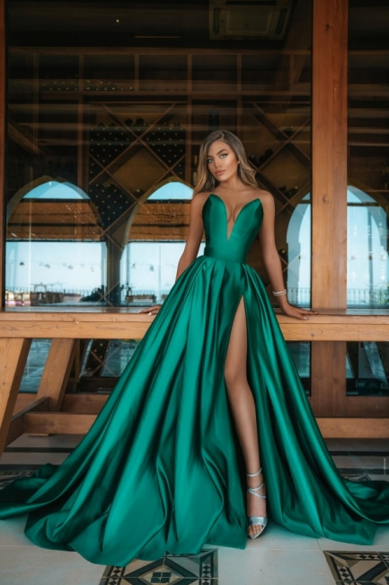 Elegant Sweetheart Green Evening Gowns Long Prom Dress With Slit