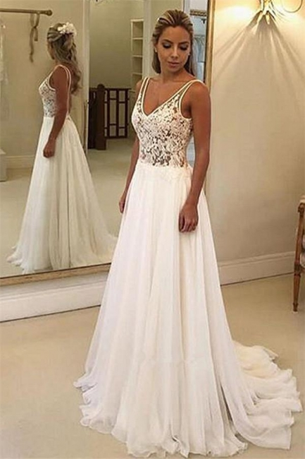 Appliques A-Line Floor-Length Wedding Dress On Sale | Charming V-Neck Sleeveless Bridal Gowns