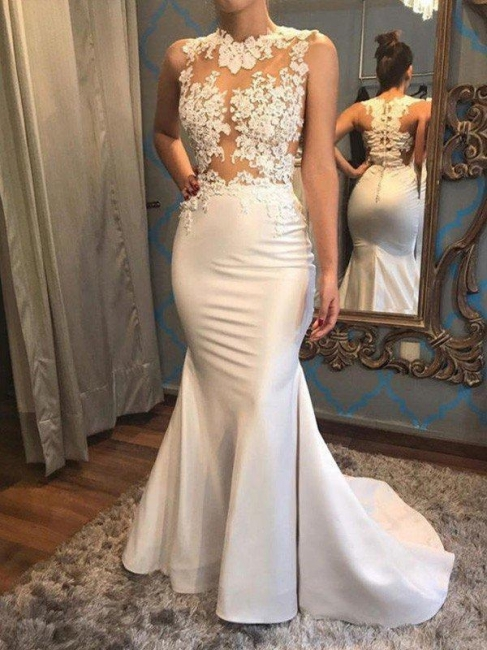 Satin Applique Court Train Wedding Dress On Sale | Mermaid Scoop Sleeveless Bridal Gowns
