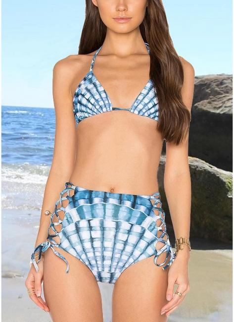 Womens Tank top Bikini Set Halter Plaid Print Padded Bandage Criss Over High Waist Hot Swimsuit