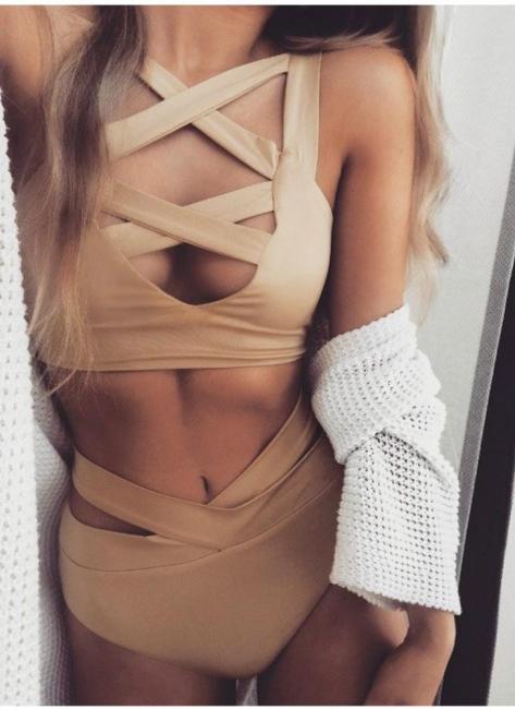 Hot Cut Out Plunge V-neck High Waist Bodycon Women's Bikini UK
