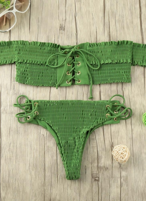 Hot Women Smocked Off the Shoulder Lace Up Bikini Set UK