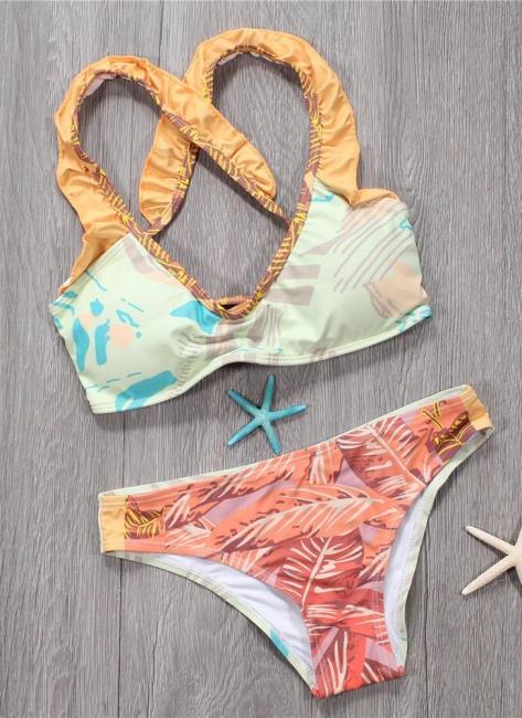 Hot Womens Bikini Set Spaghetti Strap Contrast Color Bandage Cross Lacing Padded Wireless Swimsuits Yellow