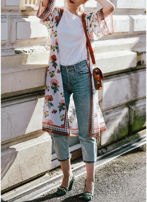 Womens Chiffon Kimono Cardigan Bikini Cover Ups Printed Boho Long Swimwear