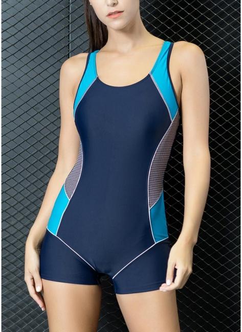 Modern Women One-Piece Swimwear Color Splice Cut Out Padding Bathing Suit Swimsuits