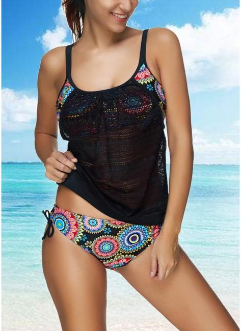 Womens Bikini Set Bathing Suit Swimsuit Tribal Printed Strap Crochet Tank top Swimsuit Swimwear