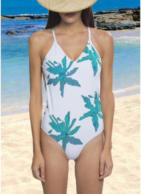 Leaf Print Bandage Sexy Open Back One Piece Swimsuit