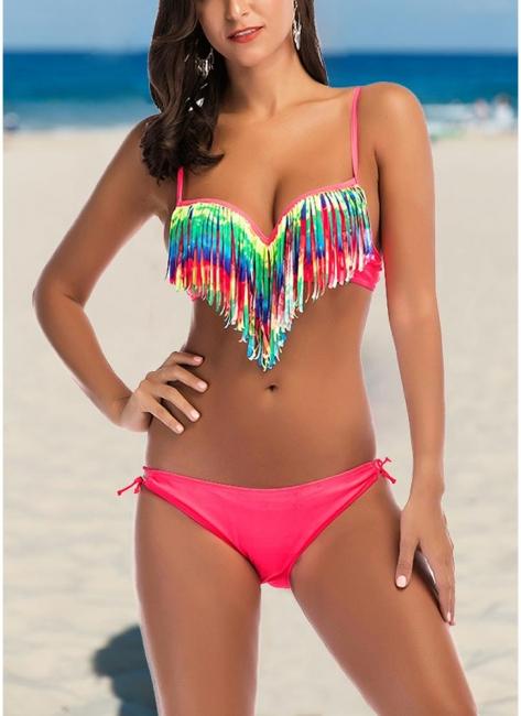 Womens Bikini Tank top Set Sweetheart Neck Hollow Out Low Waist Swimsuit