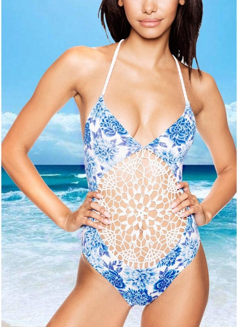 Womens Floral One Piece Halter Swimsuit Front Lace Splice Swimwear Bathing Suit White