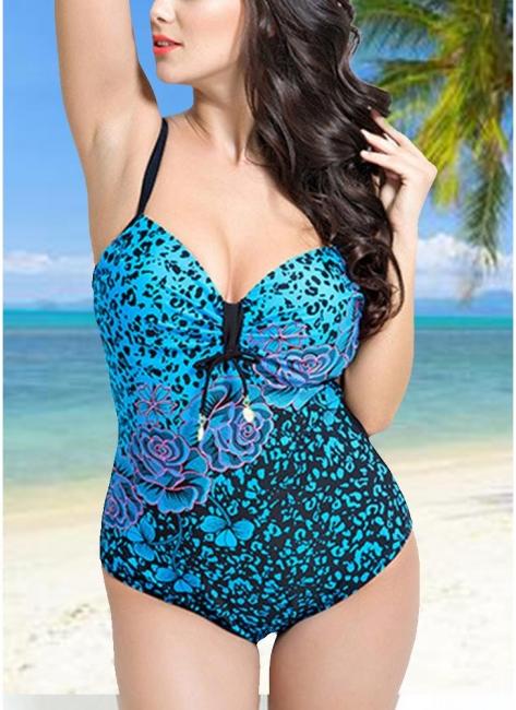 Modern Women Large Size One-Piece Swimwear Push Up Padding Wireless Swimsuit