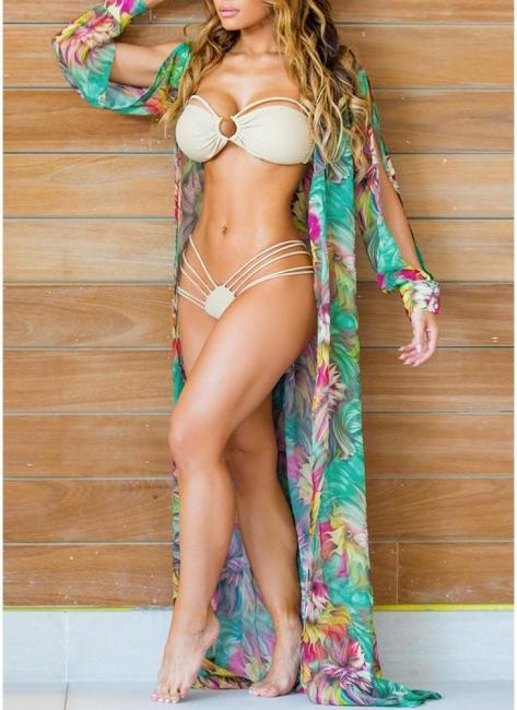 Hot Women Chiffon Bikini UK Cover Up Floral Bohemia Cardigan Kimono Loose Outerwear Beachwear Green/Blue