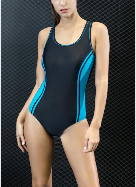 Sport Color Block Splicing Push Up Racer Sexy Open Back One Piece Swimsuit