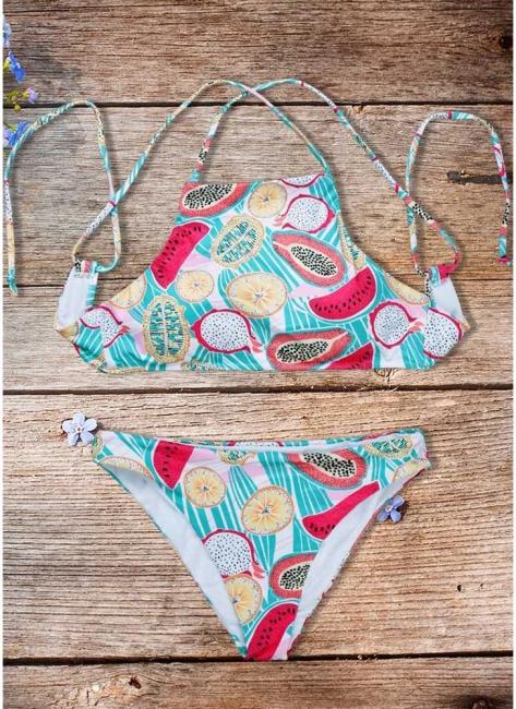 Women Fruit Printed Bikini Set UK Halter Bathing Suit UK Padded Tank Top Bathing Suit UK fr