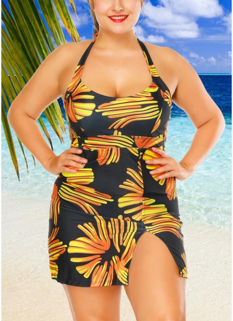 Modern Women Plus Size Swimwear Dress Halter Swimsuit Backless Push Up Bathing Suit