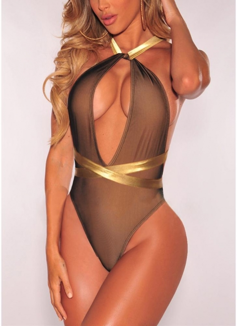 Plunge V Contrast Straps Bodycon Open Back Hot One Piece Bathing Suit UK