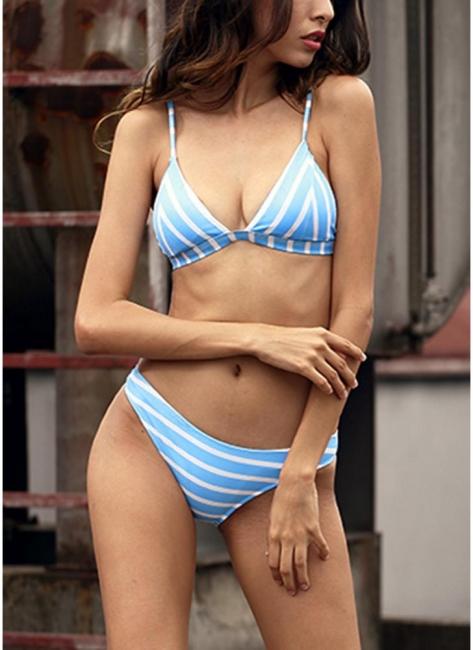 Womens Striped Bikini Set Sexy Open Back Low Waist Summer Beach Swimsuit Bathing Suit