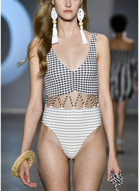 Stripe Plaid Hollow Out Bandage One Piece Swimsuit