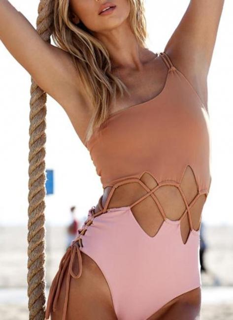 Women Single Shoulder One Piece Solid Color Bathing Suit UK