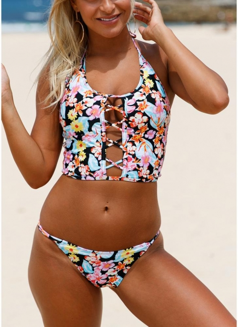 Floral Halter Lace Up Back Low Waist Strappy Bikini Set