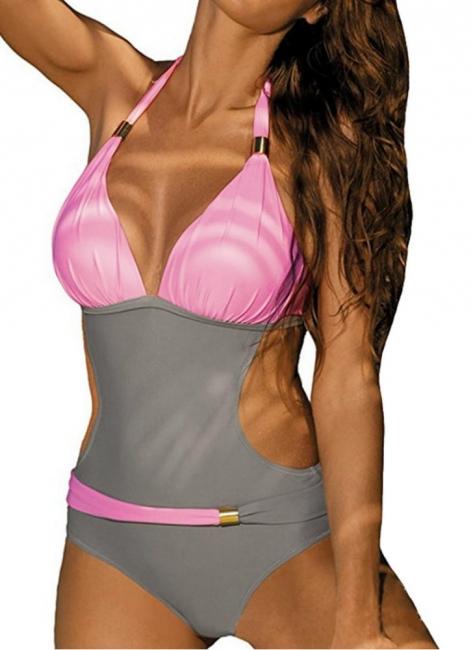 Modern Women's Contrast Color Block Halter Backless One Piece Swimsuit