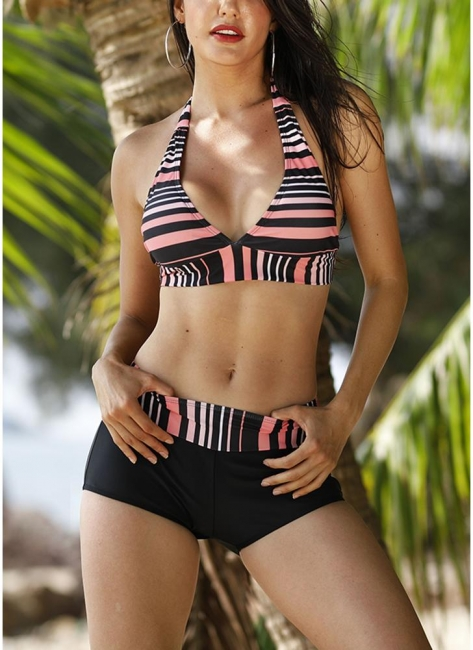 Print Triangle Halter Sexy Open Back Push Up Boyshorts Hot Tankini