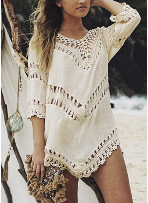 Women Beach Cover Ups Hollow Out Crocheted Lace Plunge V-neck Asymmetrical Hem