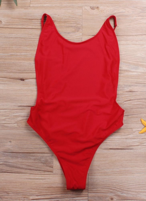 Cut Out Open Back Solid Padded Monokini One Piece