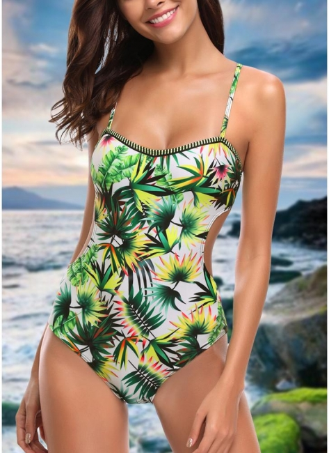 Womens One Piece Swimsuit Bathing Suit Leaf Print Cut Out Bandage Swimsuit