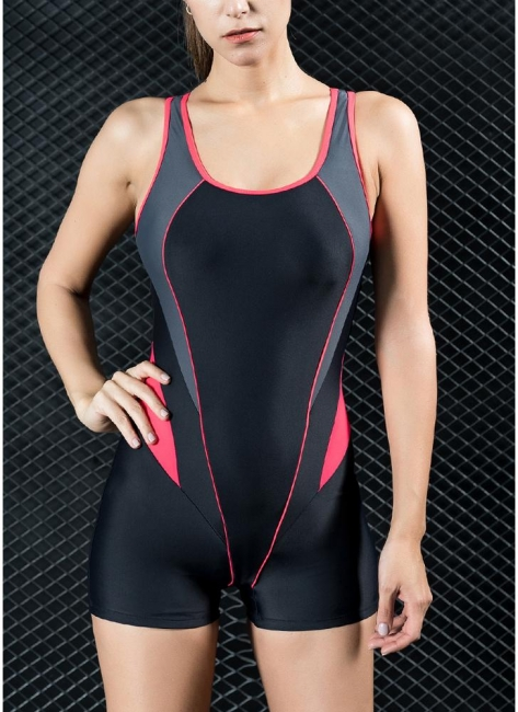 Womens Sports One Piece Swimsuit Bathing Suit Shorts Splice Racing Training Swimsuit