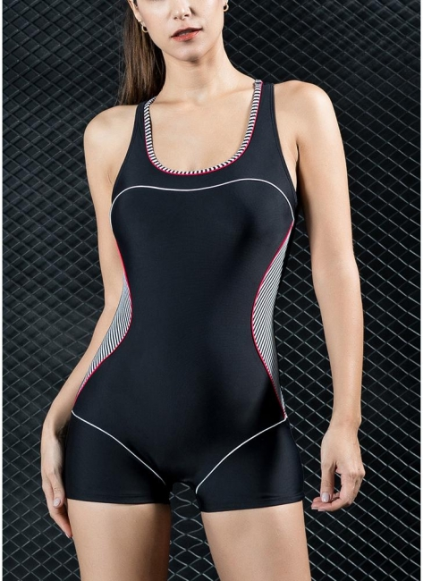 Women Sports One Piece Bathing Suit UK Swimsuits UK Shorts Splice Racing Training Bathing Suit UK