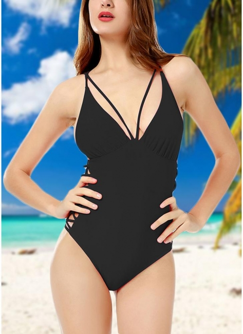 Crisscoss Bandage Sexy Open Back Strappy Solid One-piece Swimsuit