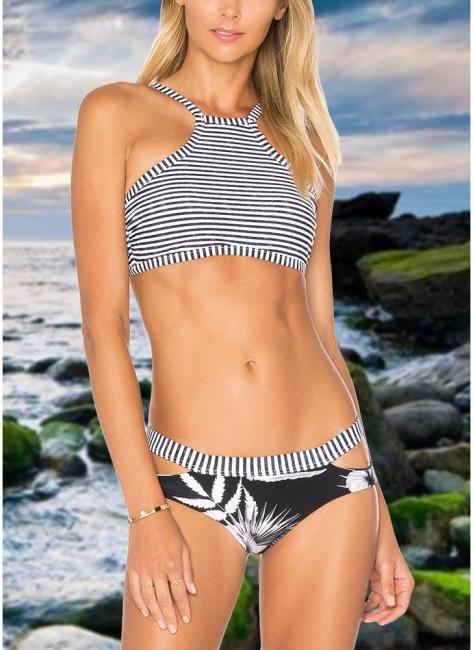 Hot Women Brazilian Bikini Set UK Bathing Suit UK Stripe Printed Swimsuits UK Cut Out Bodycon Padded Beach Wear Bathing Suit UK