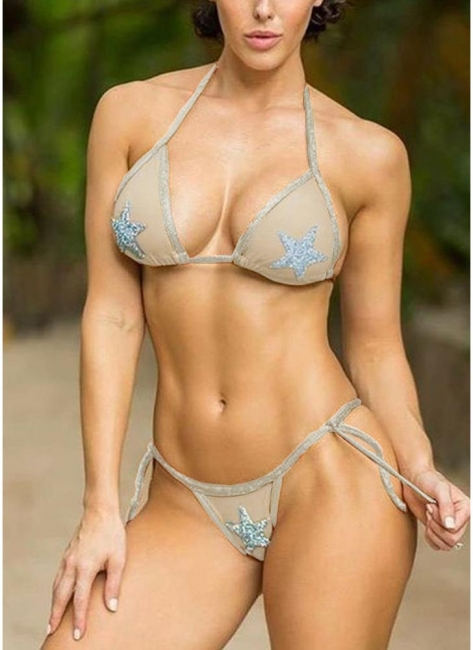 Womens Bikini Set Sequined Stars Tied Waist Padded Tank tops Swimsuit Bathing Suit