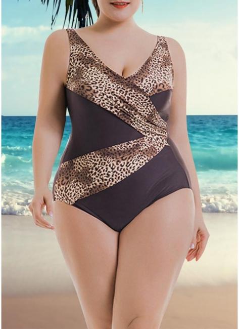 Women Big One Piece Bathing Suit UK Leopard Print Monokini Swimsuits UK Bathing Suit UK