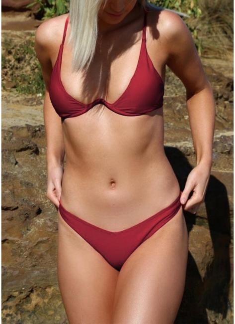 Hot Women Bikini Set UK Solid Underwire Push-Up Top Bottom Swimsuits UK Bathing Suit UK Bathing Suit UK