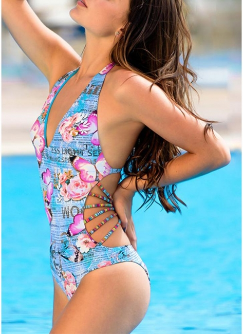 Women One Piece Bathing Suit UK Deep V Halter Floral Letters Butterfly Print Bodycon Cut Out Sexy Backless Hot Monokini