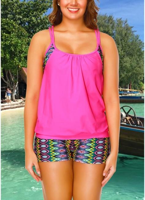 Geometric Print Sleeveless Sexy Open Back Padded Wireless Swimsuit