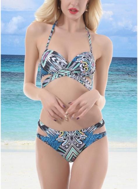 Hot Womens Push Up Bathing Suit Tribal Print Bandage Halter Beach Bathing Bikini Set