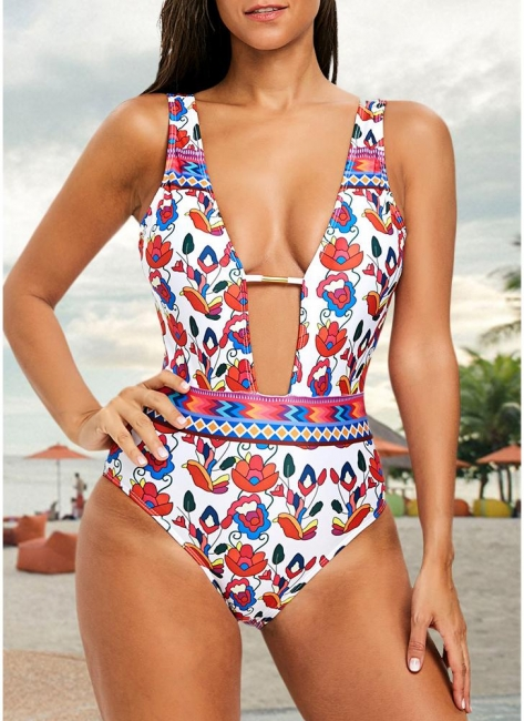 Printed Plunge V Neck High Waist Sexy Open Back One Piece Swimsuit