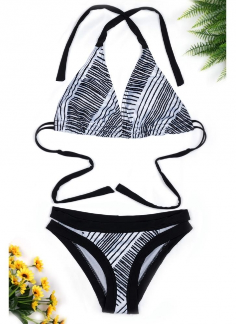 Halter Striped Sexy Open Back Push Up Bikini