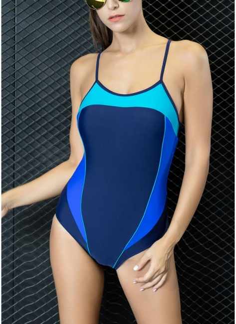 Modern Women One-Piece Swimwear Color Splice Strappy Sleeveless Padding Wireless Bathing Suit Swimsuits