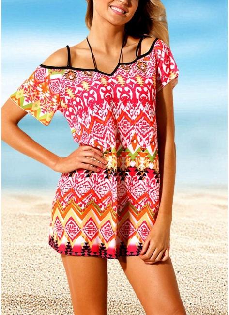 Modern Women Beach Dresses Cover Ups Geometry Print Halter Tie Mini Bikini Beachwear