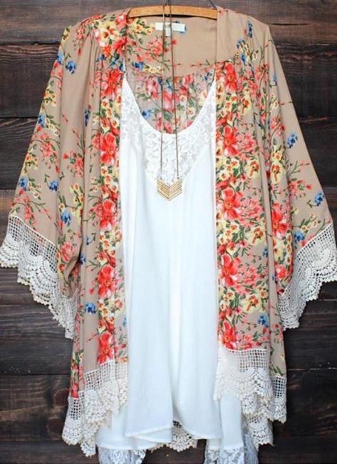 Retro Floral Lace Hem Bohemian Chiffon Kimono