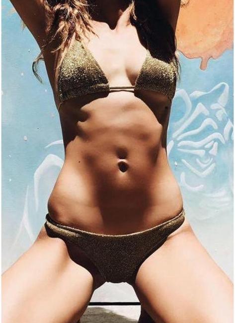 Hot Women Glitter Halter Bikini Set UK Bling Sequined Biquini Swimsuits UK Bathing Suit UK