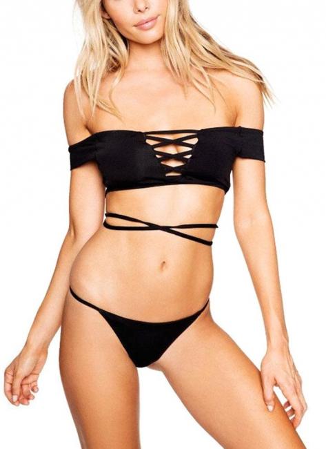 Lace Up Push Up Bikini Padded Swimsuit