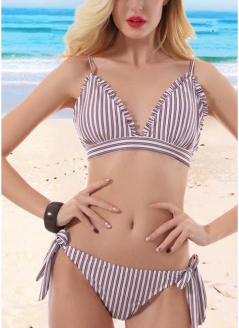 Hot Women Striped Wire Free Padded Cup Low Tie Waist Thong Biquini Bikini Set UK