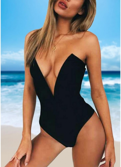 Hot Womens One Piece Bikini Monokini Swimsuits Deep V-Neck Sexy Open Back Solid Bathing Suit Beach Wear