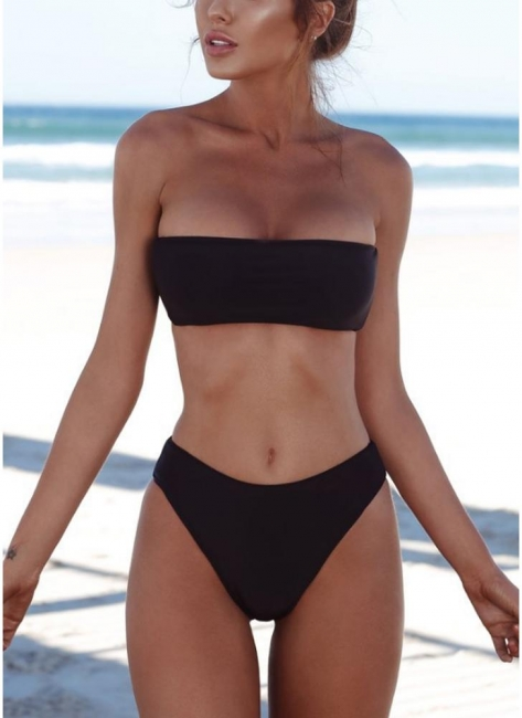 Womens High Waist Bikini Set Push Up Swimsuit Bathing Suit Solid Swimsuit